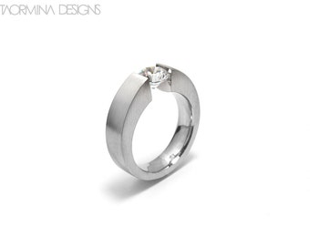 White Sapphire Engagement Ring Tension Set Steel Modern Style