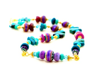 Tribal Bead Necklace. Turquoise Glass Bead Necklace. Boho Tribal Jewelry.