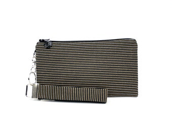 Classic black clutch with a metallic gold strip - Limited edition reclaimed fabric handbag for women