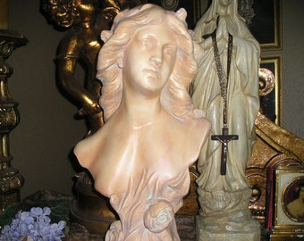 Vintage LG. Lovely Maiden/Lady Statue/Bust French/ Victorian Sculpture Figural Art Belgium.