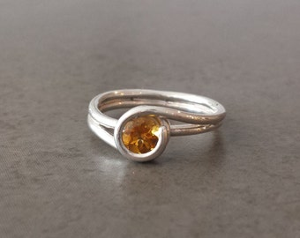 Golden Citrine Twist Ring in Sterling Silver - Size 5 3/4 - November Birthday - Wrapped, Swirl, Curling Ring