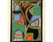Art Deco modern art painting, original, bold contemporary artwork on black card