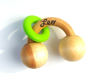 Baby Toy -- Wooden Silicone Ring Rattle Personalized Teething Toy
