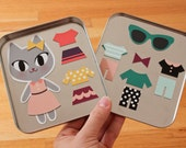 Magnetic Doll: My Fashion Cat / Stocking Stuffer / Girl's Gift / Toy / Travel Toys / Cat Doll / Cat Toy / Fashion Doll / Fashion
