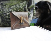 Leather envelope wallet w/ wood clasp