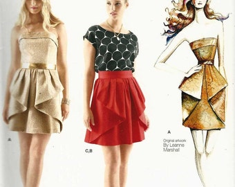 Sewing Pattern Simplicity 1690 Slim fit short strapless dress top skirt front peplum Size 4-6-8-10-12 12-14-16-18-20 Leanne Marshall (uncut)