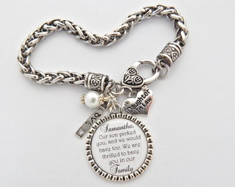Daughter In Law Bracelet Bride Gift from Mom, CHARM BRACELET, Future Daugher in Law GIFT, Wedding Bracelet Blended Family, Daugter in law