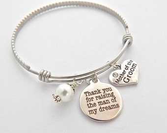 MOTHER of the GROOM Gift Mothers wedding keepsake, Wedding GIFT Ideas, Thank you for raising the man of my dreams quote charm