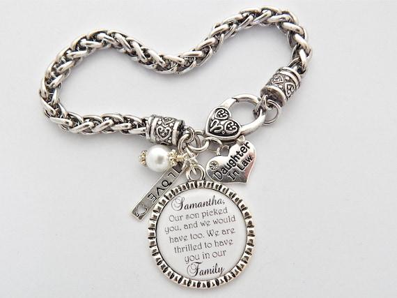 Daughter in law bracelet bride gift from mom charm bracelet future
