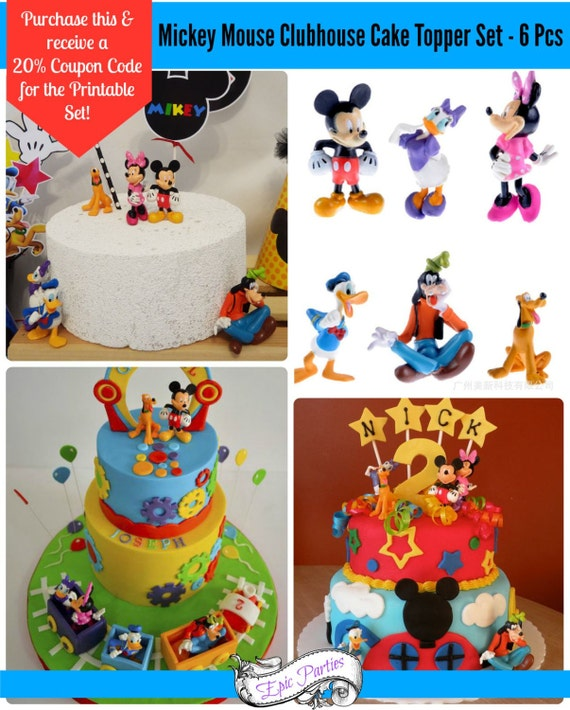 Mickey Mouse Clubhouse Cake Topper Toy Set 6 by ...