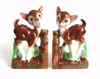 Vintage Deer Bookends, Trimont Ware Made in Japan Deer, Nursery Room Decor