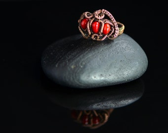 Wire wrapped ring red coral gemstone jewelry copper wirework organic shape ring jewelry coral reef detailed statement ring size 9 US S UK