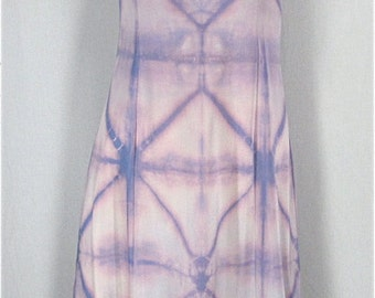 Tie Dye Slip Dress 32 XS Olga Vintage Full Slip Upcycled Nightgown Shibori Dyed Lingerie Hippie Boho Lavender Purple Nightie Gift For Her