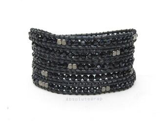 Black crystal wrap bracelet with black metal beads on soft polyester cord, black wrap bracelet