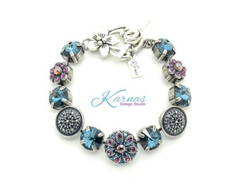 APHRODITE Mixed Size & 47ss Crystal Bracelet Made With Swarovski Elements *Antique Silver *Karnas Design Studio *Free Shipping