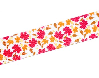 "5 yds - 1.5"" Fall Autumn Leaves Thanksgiving Grosgrain Ribbon"