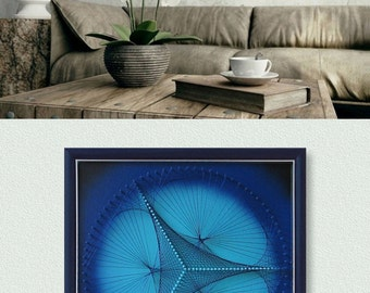 3D Wall Art, Blue and Turquoise Triangle, Zen for Home and Office or a special Gift, Sacred Geometry, Modern Abstract String Art, Feng shui