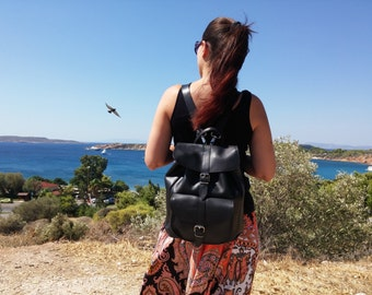 Full Grain Leather Rucksack, Leather Backpack. 100% Handmade in Greece. 4 Colors Available!