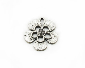 Flower Metal Pendant, Antiqued Flower Pendant, Large Pendant, Craft Supplies, Metal Pendant, Jewelry Making