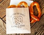 Pretzel Wedding Favor Bags - We Tied the Knot - Wedding Snack Bag - Soft Pretzel Favor - 20 Grease Resistant Bags