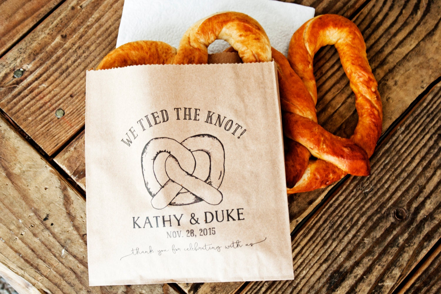 The Knot Wedding Gifts: Pretzel Wedding Favor Bags We Tied The Knot Wedding Snack