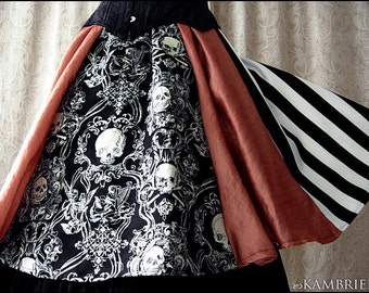 All Hallow's Eve Skirt by Kambriel - Shimmering Pumpkin and Baroque Skulls + Black and White Stripes - Brand New & Ready to Ship!