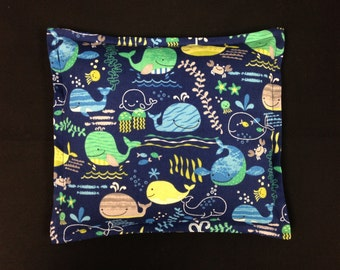 Corn Heating Pad, Kids Corn Bag, Microwavable Heating Pad, Eco-friendly Gift, Heat Pack, Heated Bag - Whales Navy