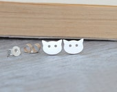 Cat Earring Studs In Sterling Silver, Kitten Earring Studs Handmade In The UK