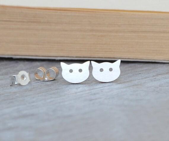 Cat Earring Studs In Sterling Silver, Kitten Earring Studs Handmade In The UK
