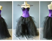 corset-black and purple-gown-Purple and black corset dress-gothic-steampunk-prom-corset with cups-masquerade-the secret boutique-denver