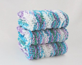 Knit Cotton Washcloths, Face Cloth, Facial Washcloth, Blue Purple White Washcloths, Set of 3