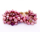 Pink Pearl and Chalcedony Cluster Bracelet