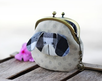 Dog coin purse polkadot, Metal frame purse