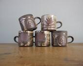 RESERVED FOR MARK ***vintage coffee set by Briglin, vintage coffee mug, fern design, spiral design, mid century ceramics