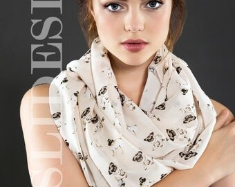 Pug Dog Pattern Dog lover Infinity scarf Pet lover gift Dog Scarf Circle Scarf Fall Winter Fashion Gift Ideas For Her Birthday Gift
