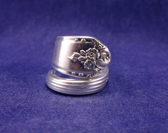 """Handmade Spoon Ring 1948 """"Sweet Briar"""" size 7 Silver Plate Spoon Jewelry"""
