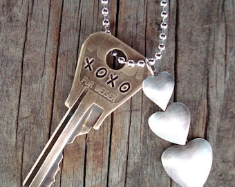 XOXO Key Necklace – Engraved Key Necklace – Hand Stamped Key Jewelry – Upcycled Recycled Repurposed – Love – Upcycled Jewelry