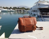 "Leather Messenger Bag - 13"" Laptop Bag.  Full Grain Leather Briefcase. Tobacco Color. Other Colors: Black, Dark Brown, Natural."