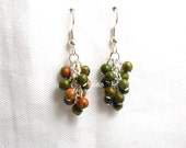 Unakite Cluster Earrings - Silver Plated Surgical Steel French Hooks Green Coral Gemstone Beads