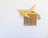 Sparrow Hair Comb, Bird Hair Comb, Bridal Hair, Brass Sparrow, Victorian Hair Comb, Gold Lace, Sage Green Rhinestone, Swallow Bird SPARROW