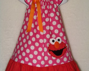 ELMO Dress / Pink Polka Dot / Red / Character / 123 Sesame Street / Newborn / Infant / Baby / Girl / Toddler / Custom Boutique Clothing