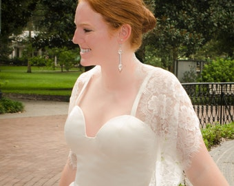 Lace Shrug, Bridal Shrug, Wedding Cover-Up, Lace Wrap, Lace Infinity Scarf, Lace Cover Up- KAYLEE