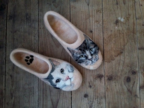 Cat Felt Slippers