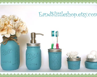 Mason Jar Bathroom Set of 5 Bathroom-Green-Rustic-RustProof Soap Pump & Lid-Wedding Gift-Shabby Chic-Farmhouse Decor-Housewarming gifts