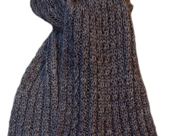 Hand Knit Scarf - Charcoal Grey Cashmere Silk Cable Rib
