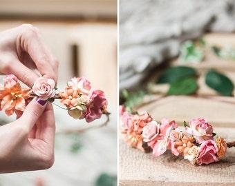 Coral Flower Crown DIY Kit- Coral Wedding Headpiece- Coral Wedding DIY- DIY Flower Crown Kit- Bridal Crown- Bachelorette Party Craft Kit