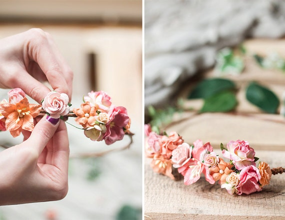 Coral Flower Crown DIY Kit Coral Wedding Headpiece Coral