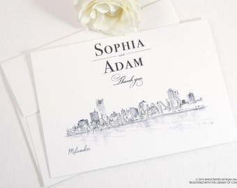 Milwaukee Skyline Wedding Thank You Cards, Personal Note Cards, Bridal Shower Thank you Cards (set of 25 cards)