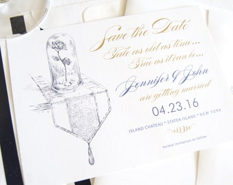 Beauty and the Beast Fairytale Wedding, Disney Wedding Save the Date Cards (set of 25 cards)