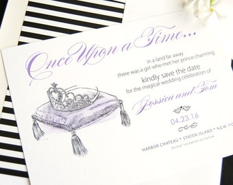 Fairytale Wedding, Cinderella Tiara, Princess, Disney Wedding Save the Date Cards (set of 25 cards)
